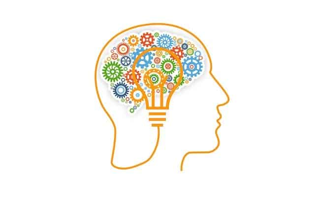 Image of light bulb and cogs inside head to illustrate the brain working.